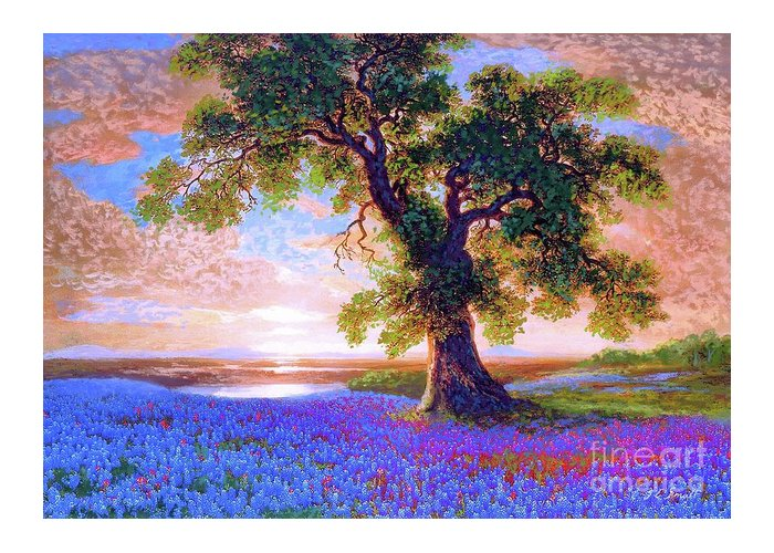 Landscape Greeting Card featuring the painting Bluebonnets by Jane Small
