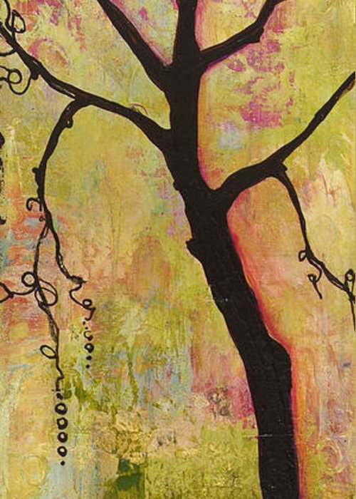 Tree Print Greeting Card featuring the painting Tree Print Triptych Section 1 by Blenda Studio