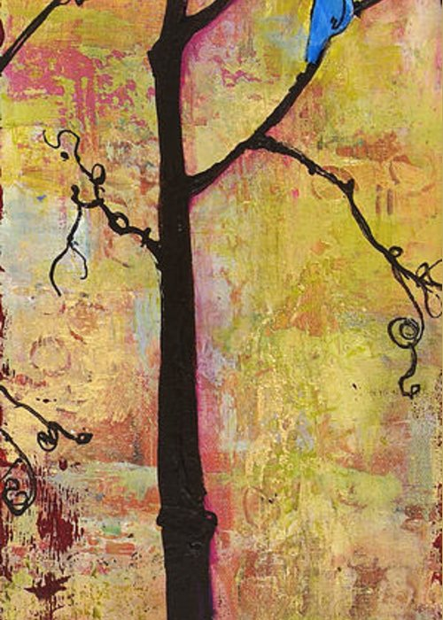 Tree Prints Greeting Card featuring the painting Tree Print Triptych Section 2 by Blenda Studio