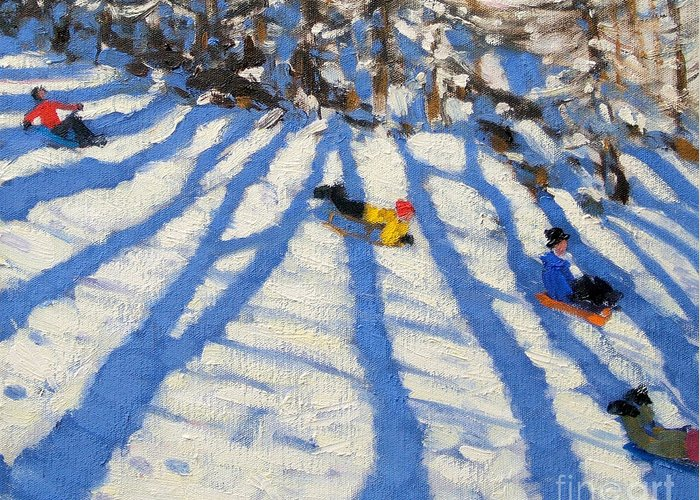 Sledging Greeting Card featuring the painting Tree Shadows Morzine by Andrew Macara
