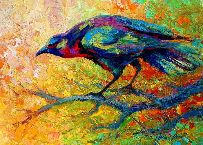 Crows Greeting Card featuring the painting Tree Talk - Crow by Marion Rose