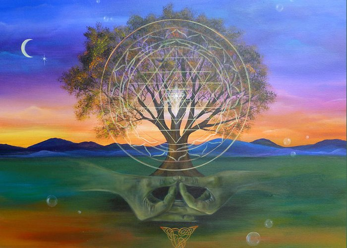 Landscape Greeting Card featuring the painting Tree Yantra by Sundara Fawn