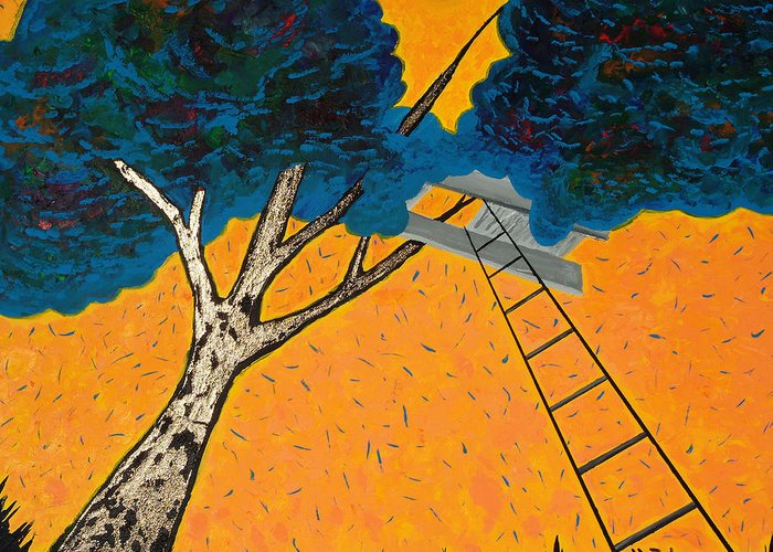 Treehouse Greeting Card featuring the painting Treehouse by Randall Weidner