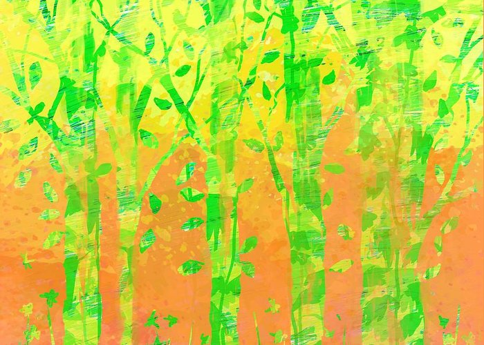Abstract Greeting Card featuring the digital art Trees in the Grass by William Russell Nowicki