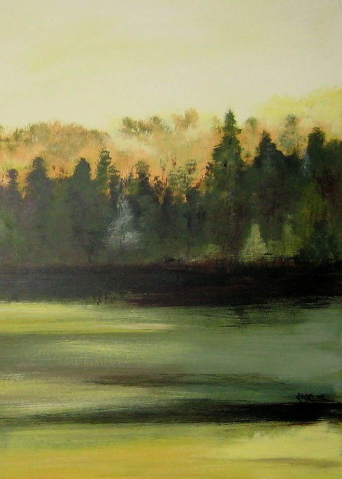 Landscapes Greeting Card featuring the painting Trees In The Mist by Marcia Crispino