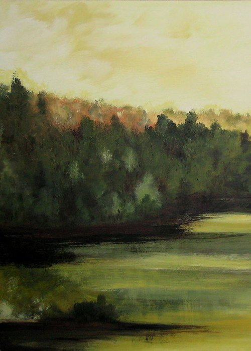 Landscapes Greeting Card featuring the painting Trees In The Mist2 by Marcia Crispino
