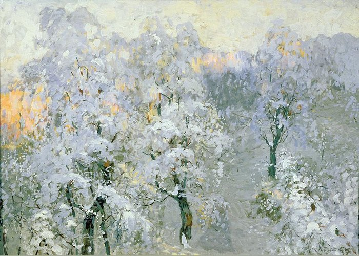 Trees In Wintry Silver Greeting Card featuring the painting Trees In Wintry Silver by Konstantin Ivanovich Gorbatov