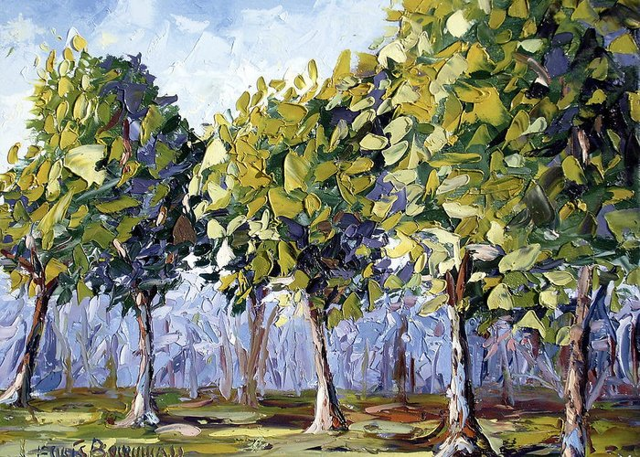 Landscape Greeting Card featuring the painting Trees by Lewis Bowman