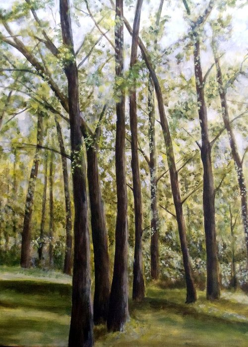 Landscape Greeting Card featuring the painting Trees by Lorna Skeie
