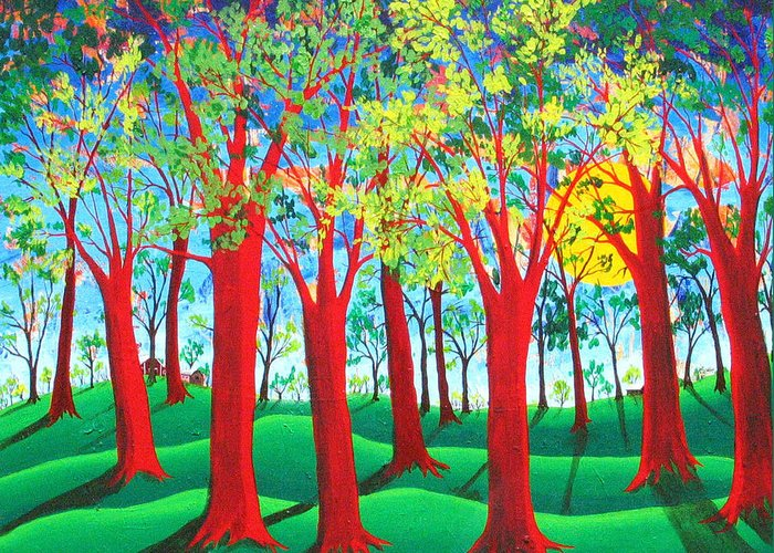 Rollin Kocsis Greeting Card featuring the painting Trees of Red by Rollin Kocsis