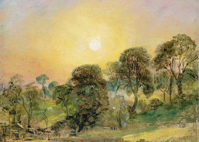 Trees Greeting Card featuring the painting Trees On Hampstead Heath At Sunset by John Constable