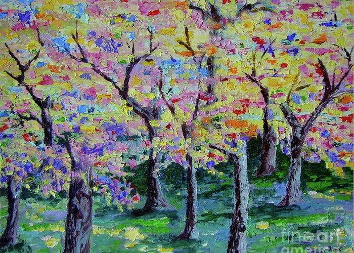 Landscape Greeting Card featuring the painting Trees On Hideaway Ct by Lisa Rose Musselwhite