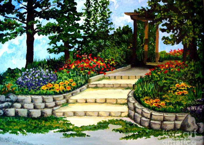 Landscape Greeting Card featuring the painting Trellace Gardens by Elizabeth Robinette Tyndall