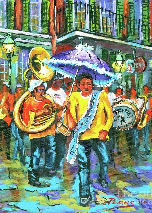 Treme Greeting Card featuring the painting Treme Brass Band by Dianne Parks