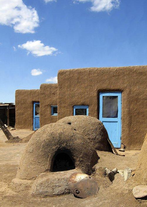 Taos Greeting Card featuring the photograph Tres Casitas Taos Pueblo by Kurt Van Wagner