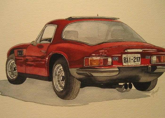 Car Greeting Card featuring the painting Trevors Tvr by Victoria Heryet
