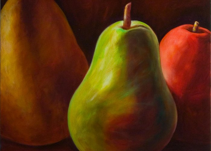Fruit Greeting Card featuring the painting Tri Pear by Shannon Grissom