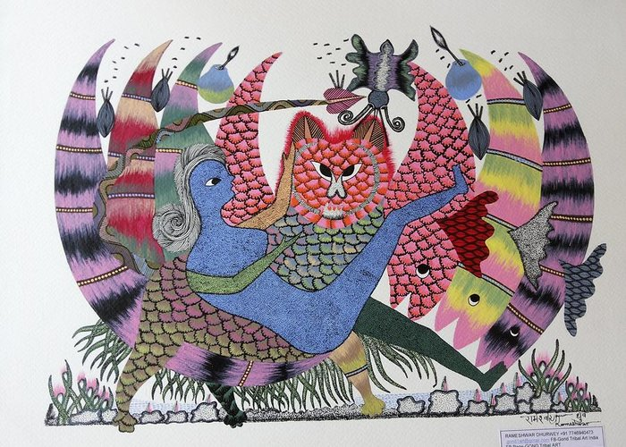 Gond Tribal Paintings Greeting Cards