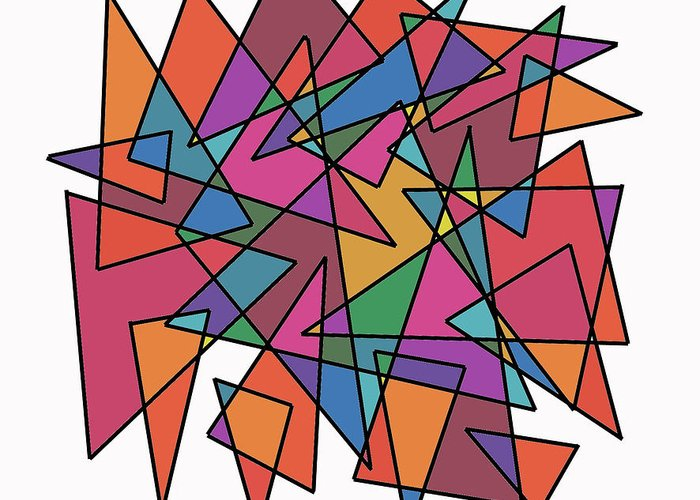 Modern Greeting Card featuring the digital art Triangles In Motion by ME Kozdron
