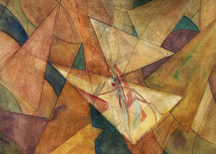 Abstract Paintings Greeting Card featuring the painting Triangulation by Dan Earle