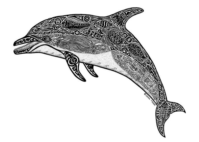 Dolphin Greeting Card featuring the drawing Tribal Dolphin by Carol Lynne