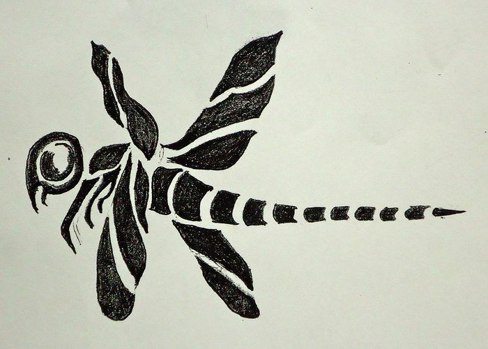 Flash For Tattoo Idea. Greeting Card featuring the drawing Tribal Dragonfly by Pete Maier