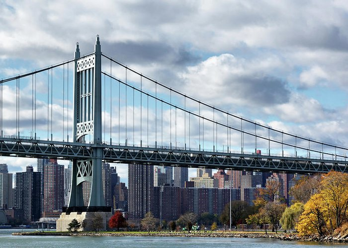 Astoria Greeting Card featuring the photograph Triboro Bridge In Autumn by Cate Franklyn