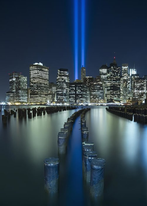 9-11 Greeting Card featuring the photograph Tribute In Light by Evelina Kremsdorf