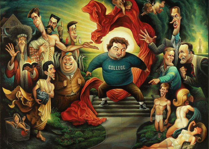 Greeting Card featuring the painting Tribute To Animal House by David O'Keefe