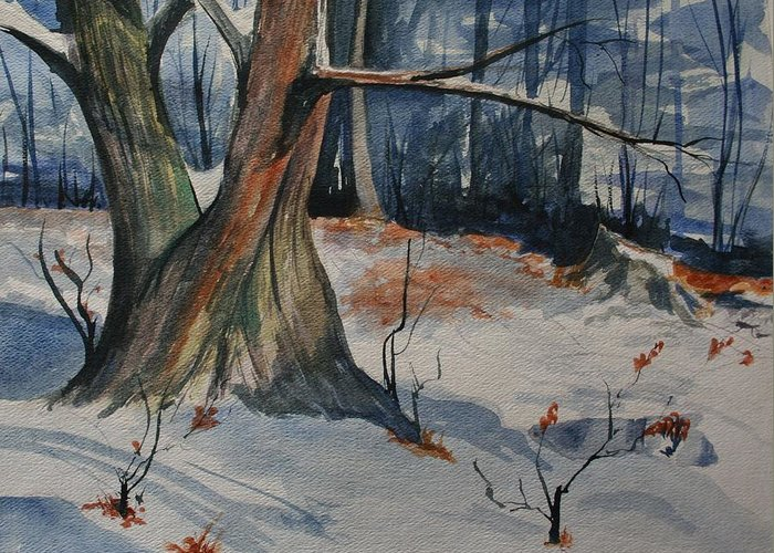 Snow Greeting Card featuring the painting Tribute To John Pike by Julie Lueders