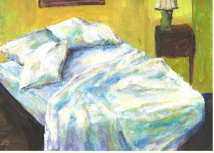 Bed Greeting Card featuring the painting Tribute To Marc by Randy Sprout