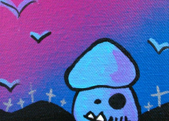 Zombie Greeting Card featuring the mixed media Tricky Zombie Mushroom by Jera Sky