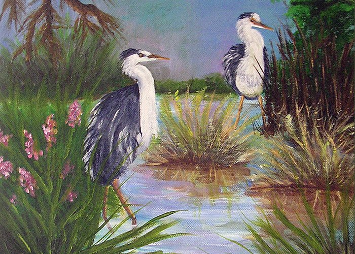 Heron Greeting Card featuring the painting Tricolored Heron by Barbara Harper