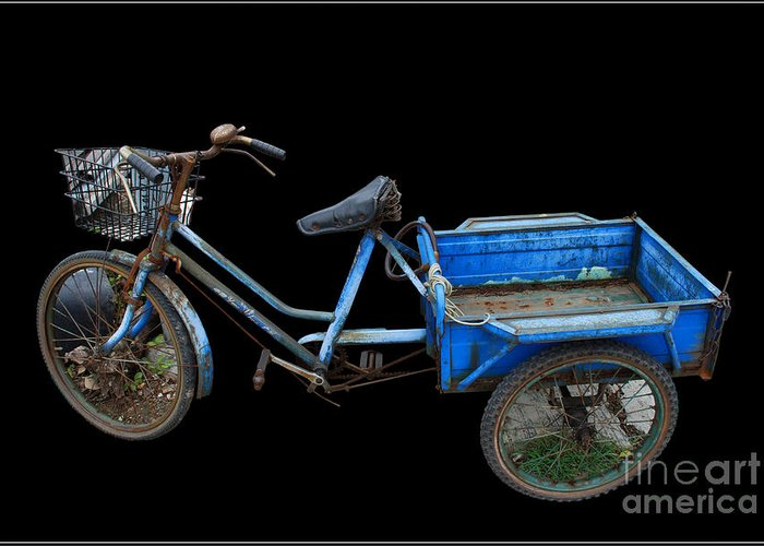 Tricycle Blue Old Bicycle Color Greeting Card featuring the photograph Tricycle In Blue by Ty Lee