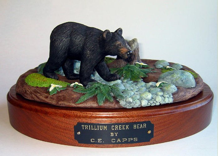 Sculpture Greeting Card featuring the sculpture Trillium Creek Bear by Carl Capps