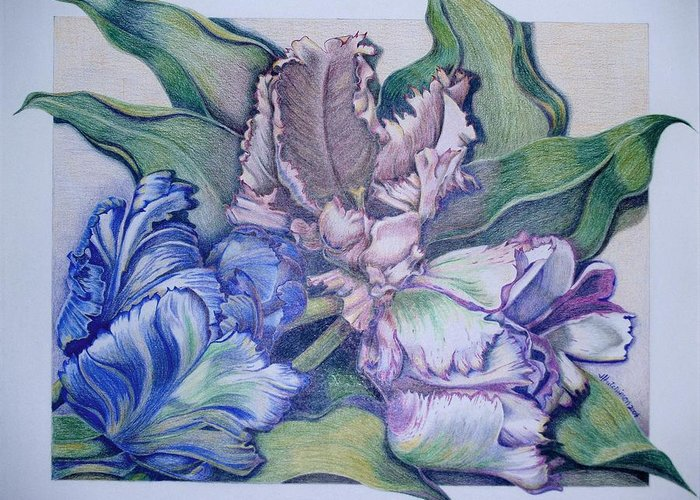 Prismacolor Greeting Card featuring the painting Trilogy by Joyce Hutchinson