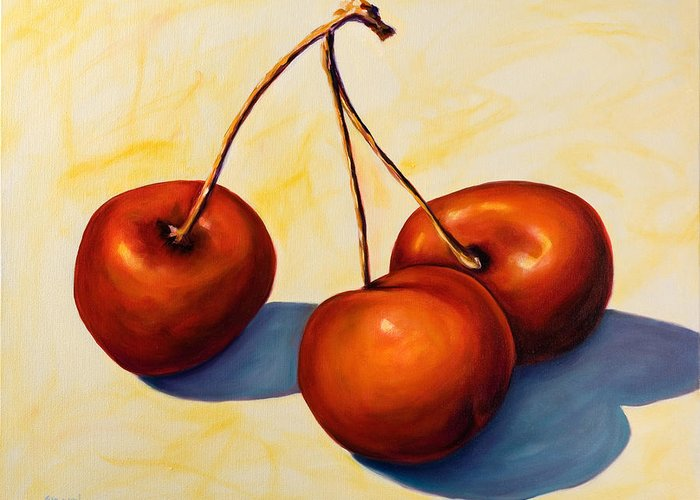 Cherries Greeting Card featuring the painting Trilogy by Shannon Grissom