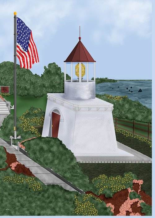 Trinidad Memorial Greeting Card featuring the painting Trinidad Memorial Lighthouse by Anne Norskog