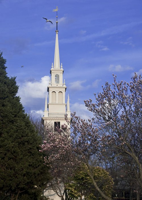 Trinity Church Greeting Card featuring the photograph Trinity Church In Spring by Steven Natanson