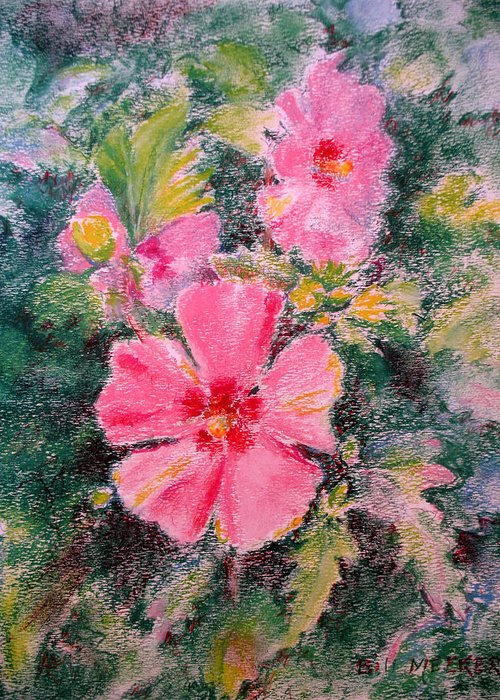 Floral Greeting Card featuring the painting Trio Of Aphrodite Althaeas by Bill Meeker