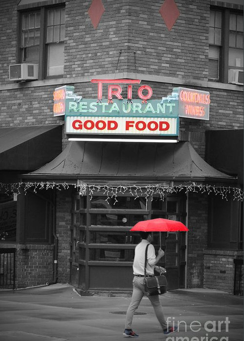 Trio Greeting Card featuring the photograph Trio Restaurant by Jost Houk