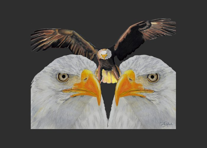 Eagle Greeting Card featuring the drawing Triple Eagle by Bill Richards