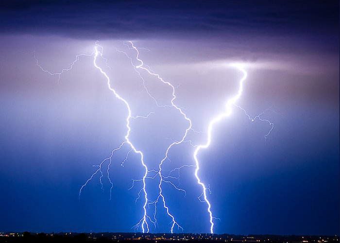 james Insogna Greeting Card featuring the photograph Triple Lightning by James BO Insogna