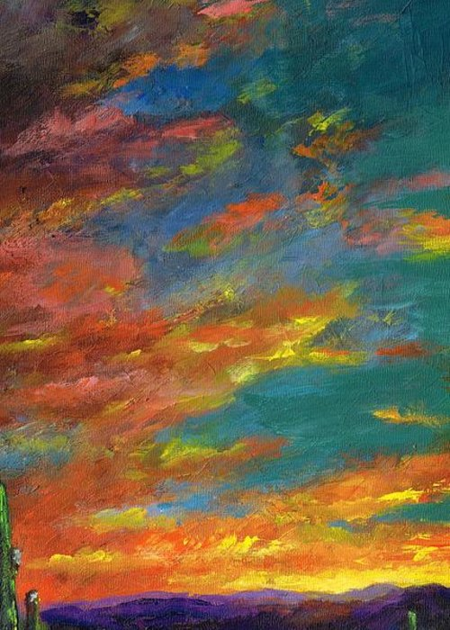 Desert Greeting Card featuring the painting Triptych 1 Desert Sunset by Frances Marino