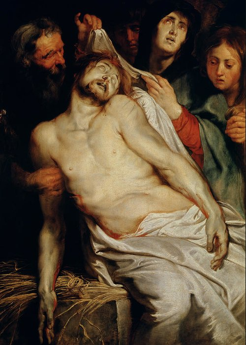 Triptych Of Christ On The Straw Greeting Card featuring the painting Triptych Of Christ On The Straw by Rubens