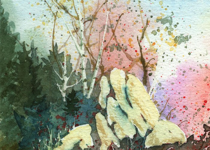 Landscape Greeting Card featuring the painting Triptych Panel 1 by Lynn Quinn