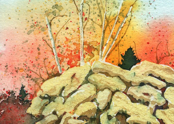 Landscape Greeting Card featuring the painting Triptych Panel 2 by Lynn Quinn