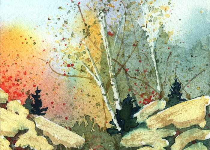 Landscape Greeting Card featuring the painting Triptych Panel 3 by Lynn Quinn