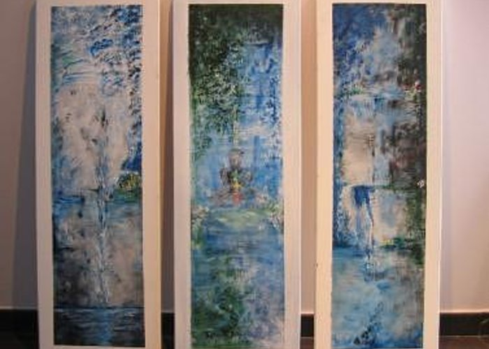 Meditation Greeting Card featuring the painting Triptych SPIRITUAL MEDITATION by Lizzy Forrester