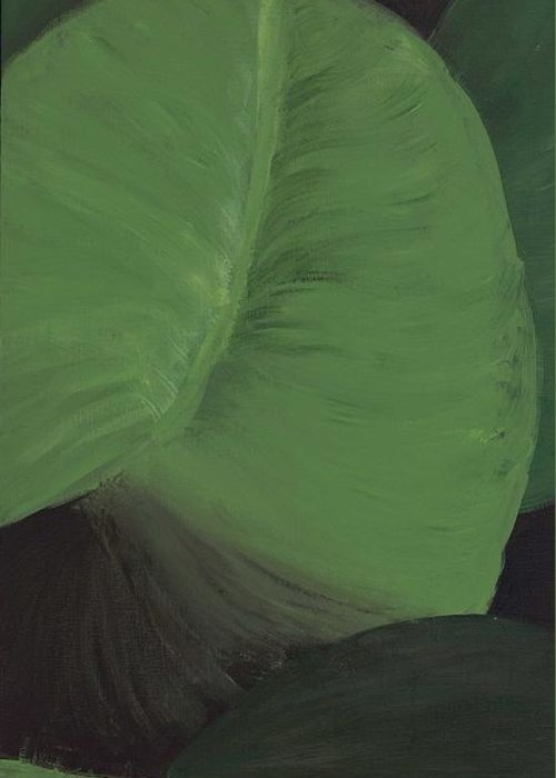 Leaves Greeting Card featuring the painting Triptych Three - Big Leaves by Megan Thielman